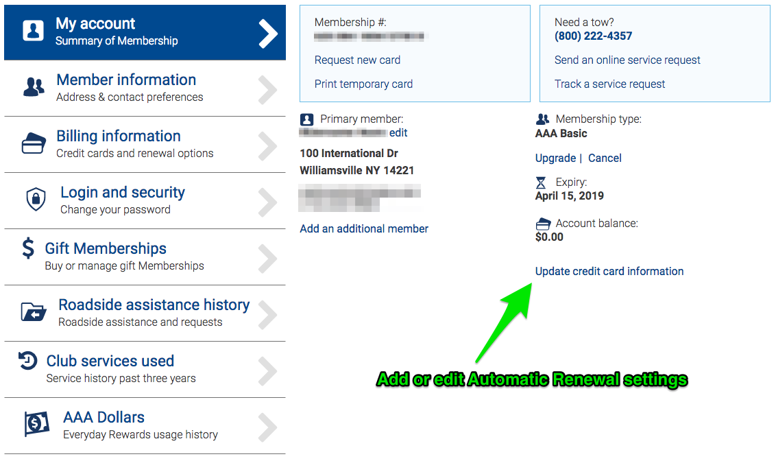 Automatic Renewal Payment Settings